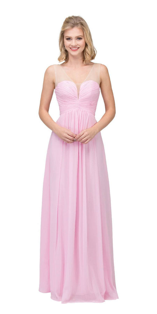 Starbox USA L6094 Sheer Straps Ruched Bodice Light Pink Empire Waist Bridesmaids Dress