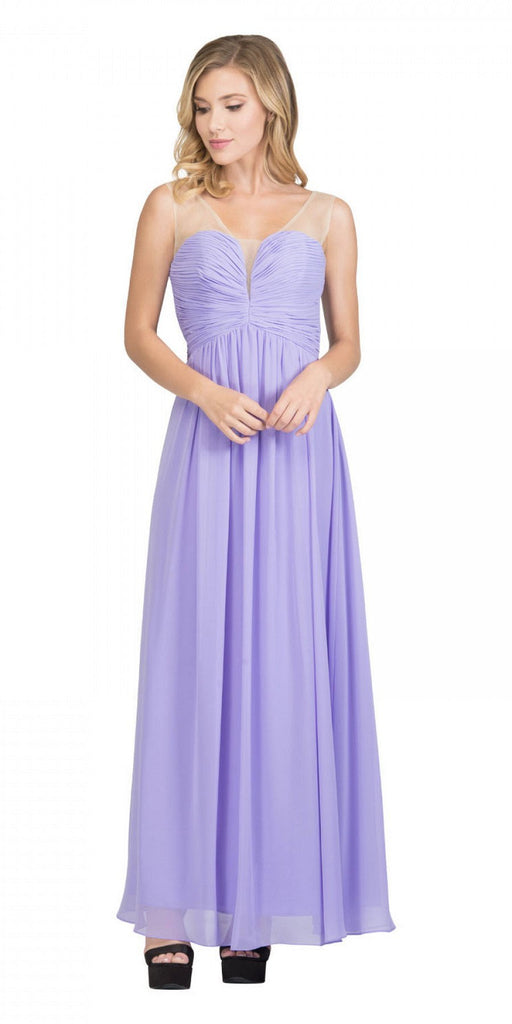 Starbox USA L6094 Sheer Straps Ruched Bodice Lilac Empire Waist Bridesmaids Dress