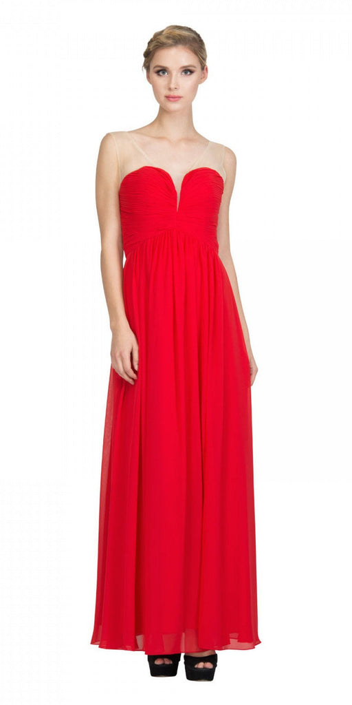Starbox USA L6094 Sheer Straps Ruched Bodice Red Empire Waist Bridesmaids Dress Back View
