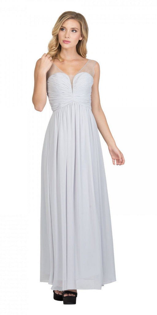 Starbox USA L6094 Sheer Straps Ruched Bodice Silver Empire Waist Bridesmaids Dress Back View