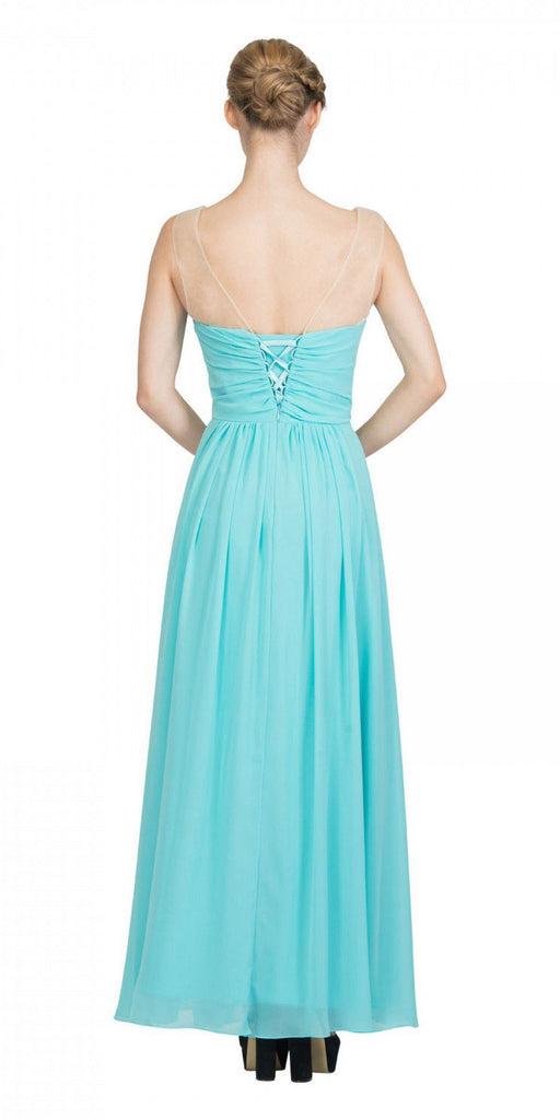 Starbox USA L6094 Sheer Straps Ruched Bodice Tiffany Blue Empire Waist Bridesmaids Dress Back View