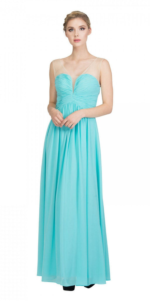 Starbox USA L6094 Sheer Straps Ruched Bodice Tiffany Blue Empire Waist Bridesmaids Dress