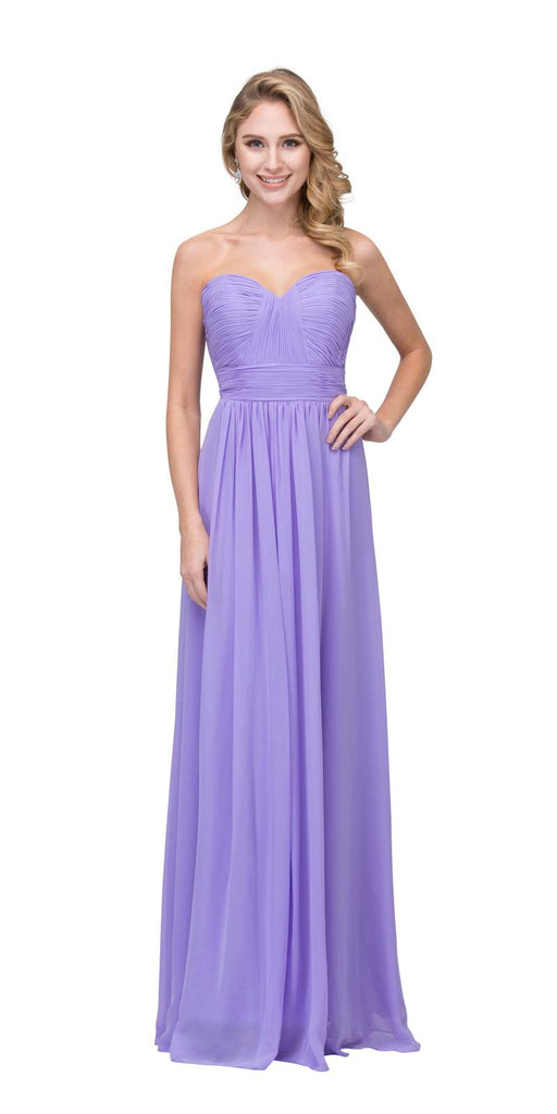 Starbox USA L6095 Ruched Bodice Strapless Chiffon Lilac A-line Long Bridesmaids Dress