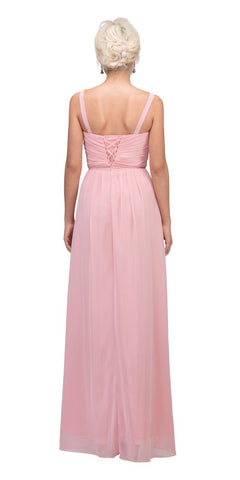 Starbox USA L6096 Knee-high Slit Waterfall Blush Beach Wedding Thin Strap Dress Back View