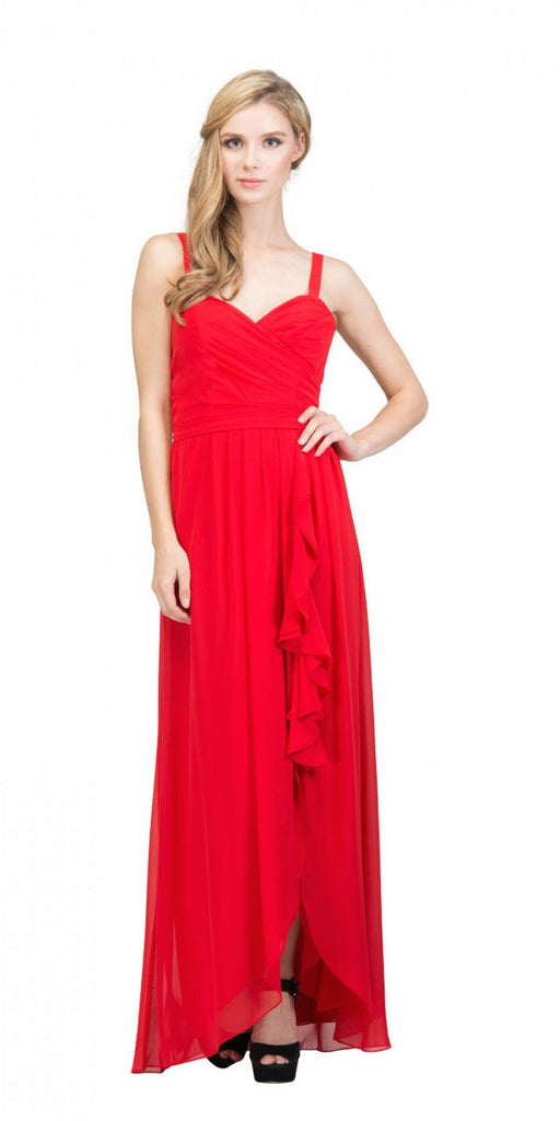 Starbox USA L6096 Knee-high Slit Waterfall Red Beach Wedding Thin Strap Dress
