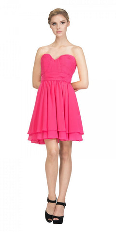 Starbox USA S6097 Sweetheart Neck Layered Hem Ruched Bodice Fuchsia Short Bridesmaids Dress