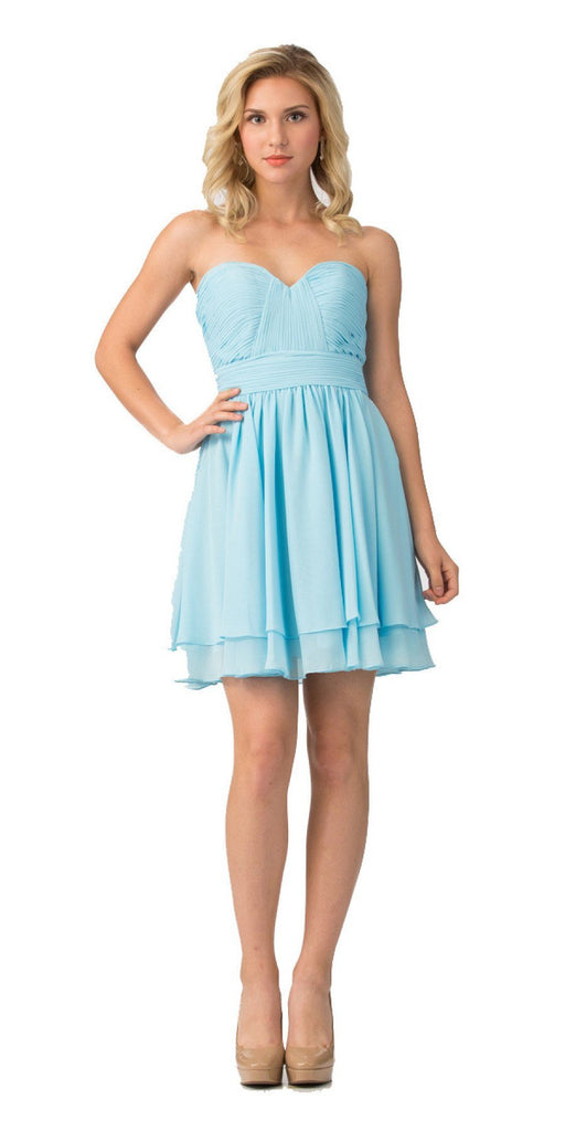 Starbox USA S6097 Sweetheart Neck Layered Hem Ruched Bodice Light Blue Short Bridesmaids Dress