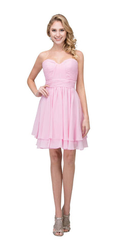 Starbox USA S6097 Sweetheart Neck Layered Hem Ruched Bodice Pink Short Bridesmaids Dress