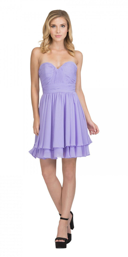 Starbox USA S6097 Sweetheart Neck Layered Hem Ruched Bodice Lilac Short Bridesmaids Dress
