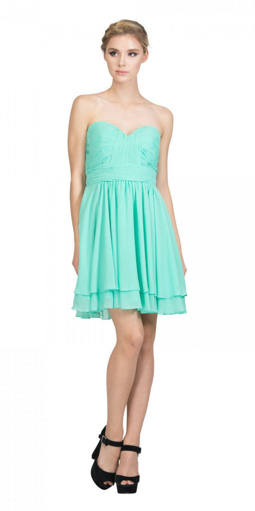 Starbox USA S6097 Sweetheart Neck Layered Hem Ruched Bodice Mint Short Bridesmaids Dress