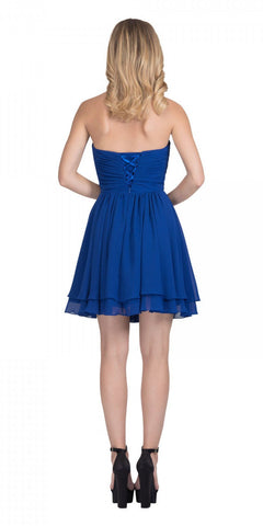Starbox USA S6097 Sweetheart Neck Layered Hem Ruched Bodice Royal Blue Short Bridesmaids Dress