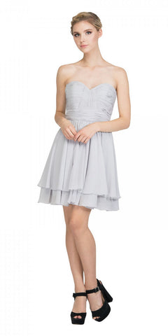Starbox USA S6097 Sweetheart Neck Layered Hem Ruched Bodice Silver Short Bridesmaids Dress