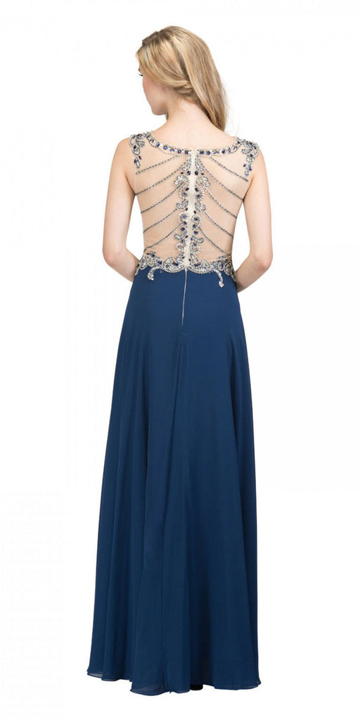 Starbox USA L6098 Navy Blue Illusion Bateau Neck Chiffon Jeweled Bodice Cap Sleeves Prom Dress