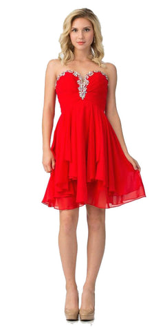 Starbox USA S6099 Beaded Ruched Bust Red Chiffon A-line Short Prom Dress Sweetheart Neck