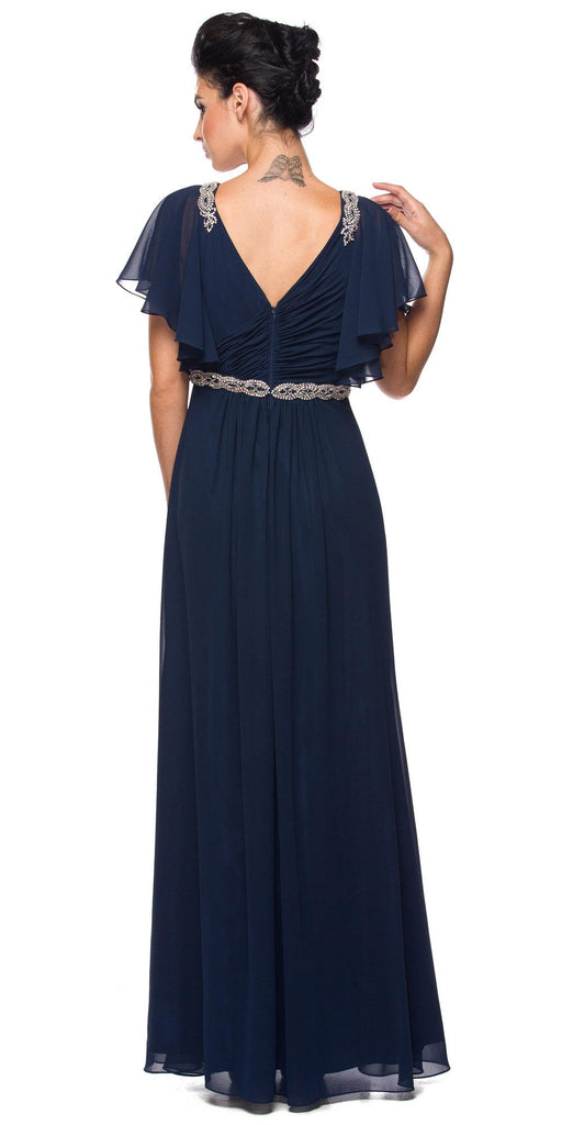 Navy Blue V-Neck Long Formal Dress Flutter Sleeves with Drapes