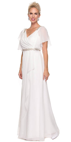 Off White V-Neck Long Formal Dress Flutter Sleeves with Drapes