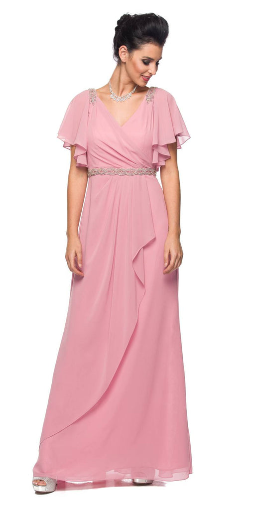 Rose V-Neck Long Formal Dress Flutter Sleeves with Drapes