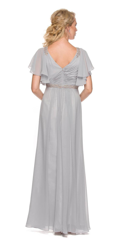 Silver V-Neck Long Formal Dress Flutter Sleeves with Drapes