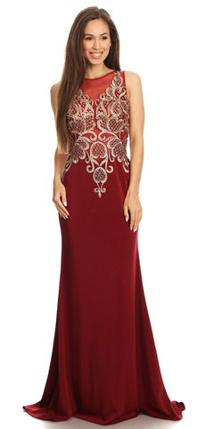Embroidered Bodice Sleeveless Floor Length Prom Gown Burgundy