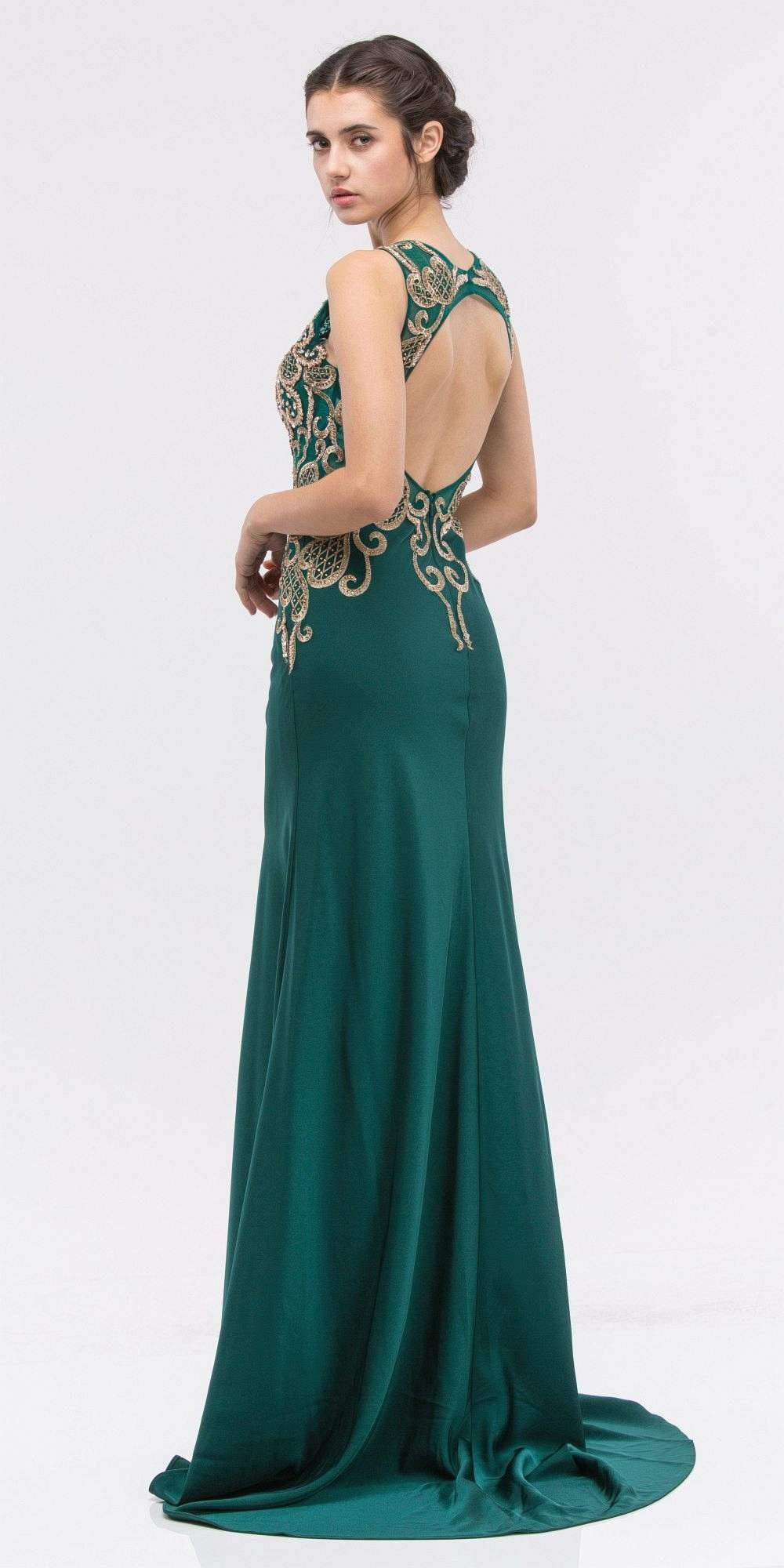 01f7eccb9d3 Eureka Fashion 6100 Embroidered Bodice Sleeveless Floor Length Prom Gown  Hunter Green – DiscountDressShop