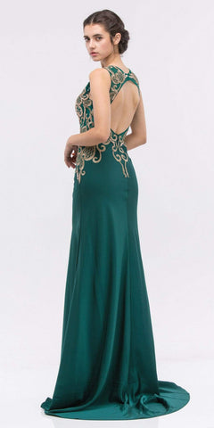 Embroidered Bodice Sleeveless Floor Length Prom Gown Hunter Green