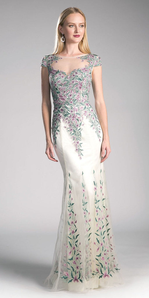 Illusion Back Appliqued Prom Gown Cap Sleeved Cream