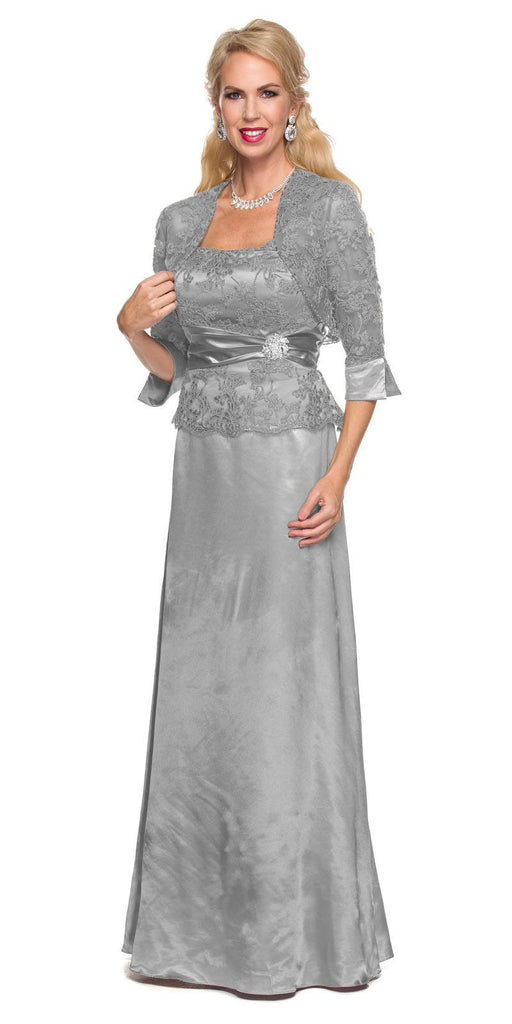 Silver Mother of Bride or Groom Long Formal Dress Mid Length Sleeves Jacket