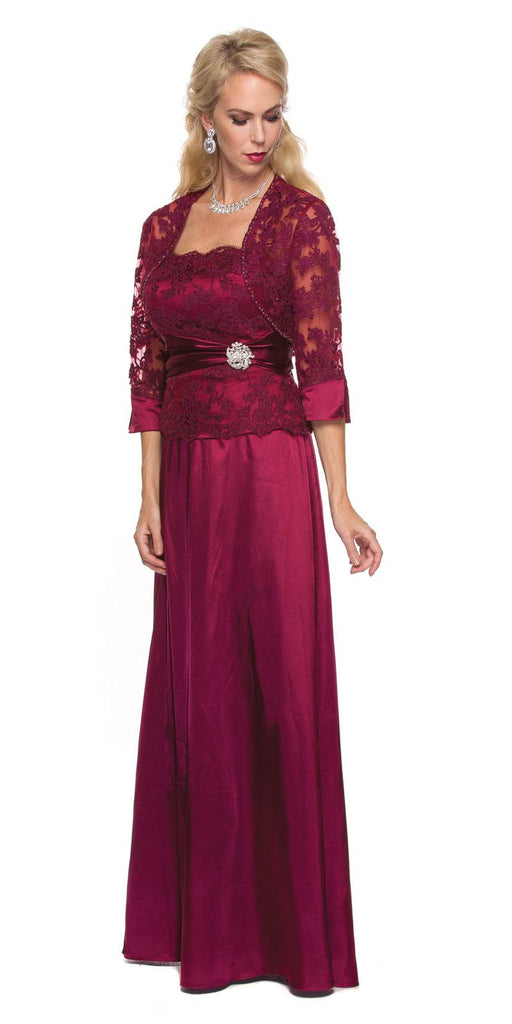 Wine Mother of Bride or Groom Long Formal Dress Mid Length Sleeves Jacket