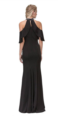Cold Shoulder High Neckline Mermaid Prom Gown Black