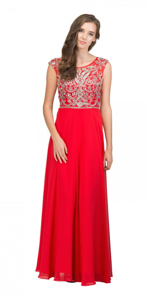 Starbox USA L6111 Cap Sleeves V-shape Back Beaded Bodice Red Chiffon Prom Gown