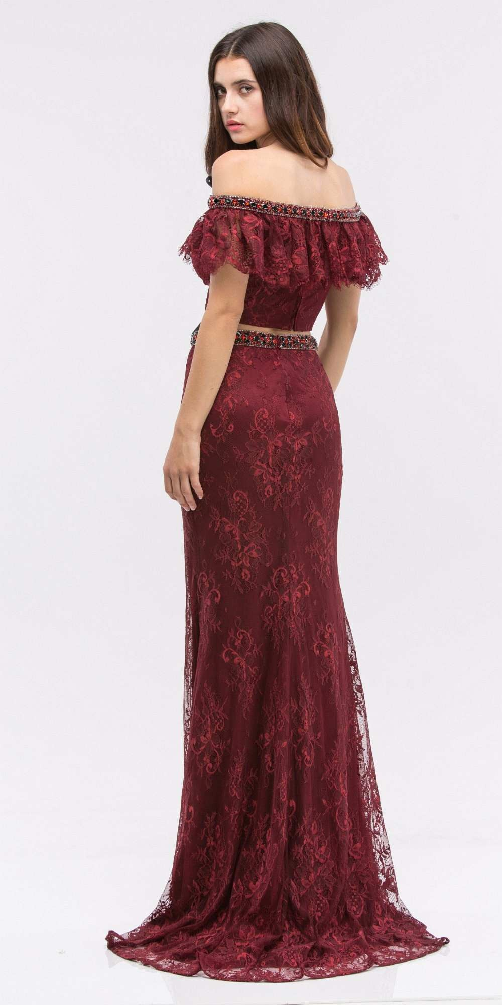 Off-Shoulder Two-Piece Beaded Lace Long Prom Dress Burgundy ...