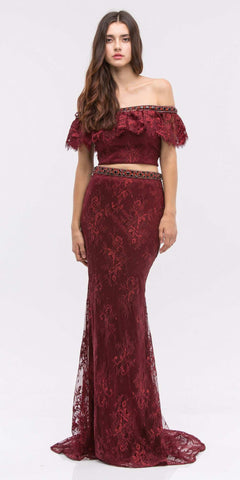 Off-Shoulder Two-Piece Beaded Lace Long Prom Dress Burgundy