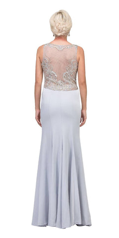Starbox USA L6116 Jewel Neckline Studded Bodice Silver See-Through Back Prom Dress