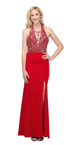 Starbox USA L6119 V-Neck Halter Studded Bodice Red Sheath Prom Dress