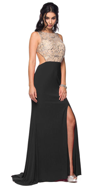 Sexy Black Formal Gown Open Slit Cut Out Back Floor Length