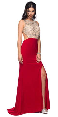Sexy Red Formal Gown Open Slit Cut Out Back Floor Length