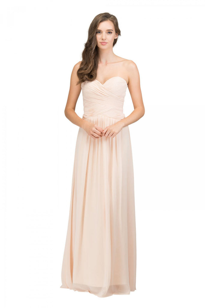 Starbox USA L6126 Sweetheart Ruched Chiffon Champagne Bridesmaid Dress
