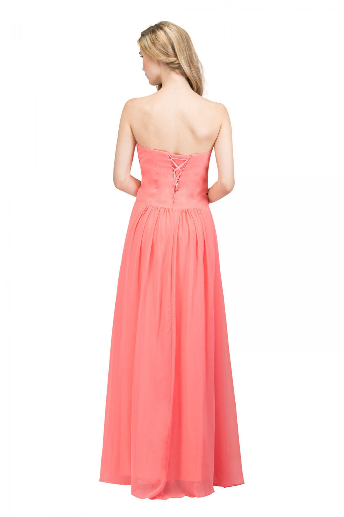 d2f8eb730c ... Starbox USA L6126 Sweetheart Ruched Chiffon Coral Bridesmaid Dress Back  View ...