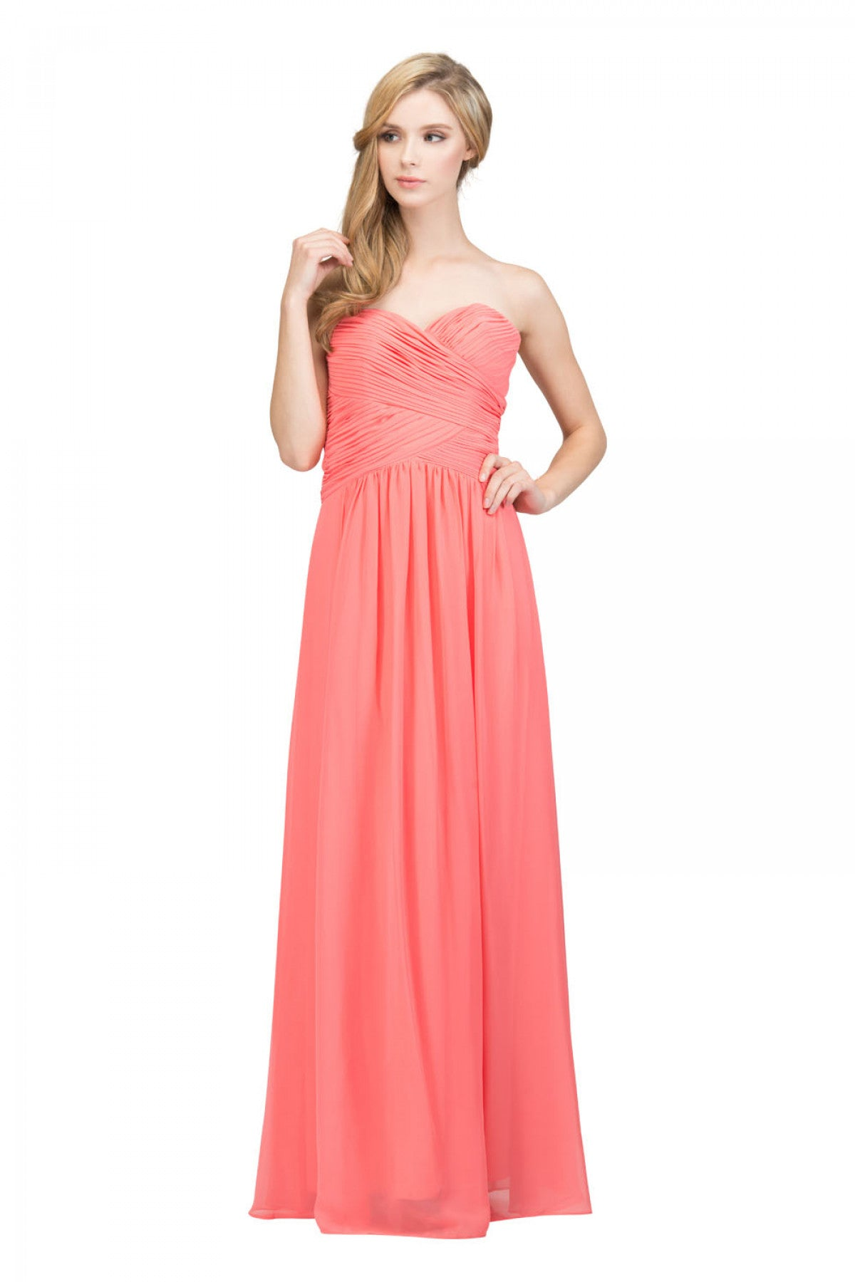 2e93362519 Starbox USA L6126 Sweetheart Ruched Chiffon Coral Bridesmaid Dress. Tap to  expand