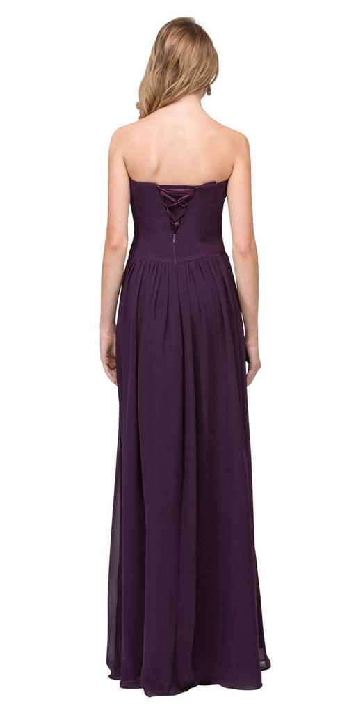 Starbox USA L6126 Sweetheart Ruched Chiffon Eggplant Bridesmaid Dress Back View