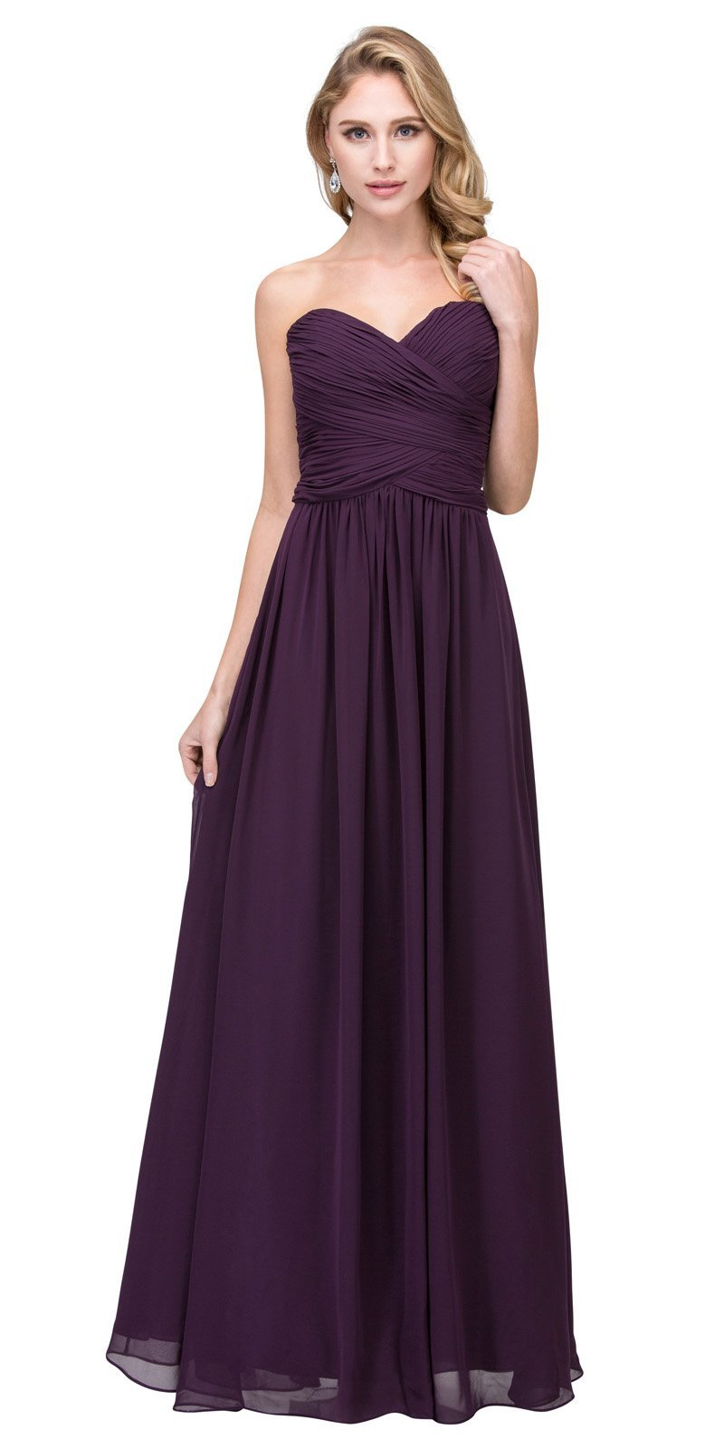 a96a8e10f2 ... Starbox USA L6126 Sweetheart Ruched Chiffon Eggplant Bridesmaid Dress  ...