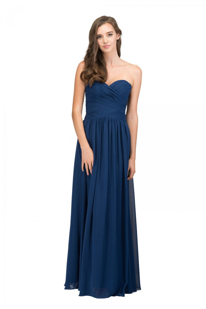 Starbox USA L6126 Sweetheart Ruched Chiffon Navy Blue Bridesmaid Dress
