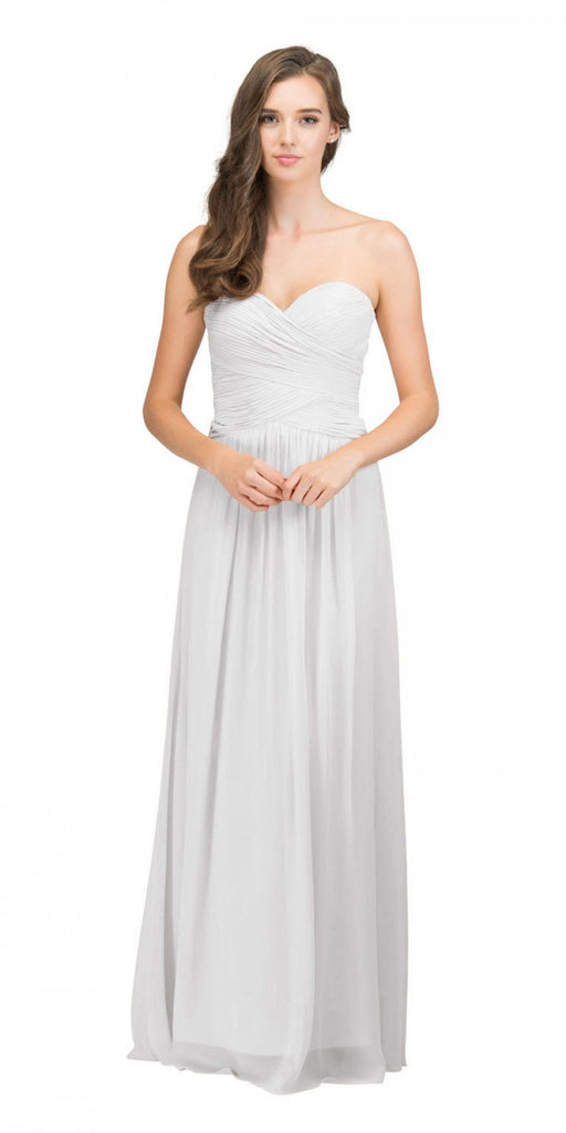 Starbox USA L6126 Sweetheart Ruched Chiffon Off White Bridesmaid Dress