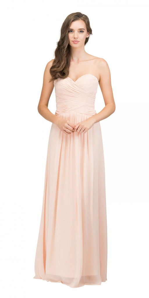 Starbox USA L6126 Sweetheart Ruched Chiffon Peach Bridesmaid Dress