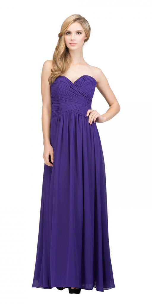 Starbox USA L6126 Sweetheart Ruched Chiffon Purple Bridesmaid Dress