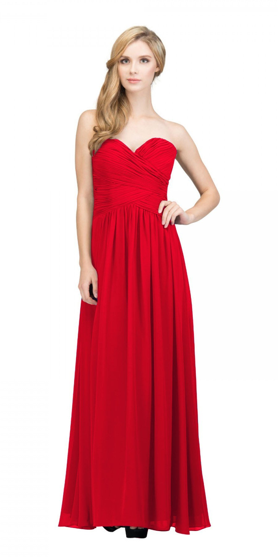 9dfedef2c3 Starbox USA L6126 Sweetheart Ruched Chiffon Red Bridesmaid Dress ...