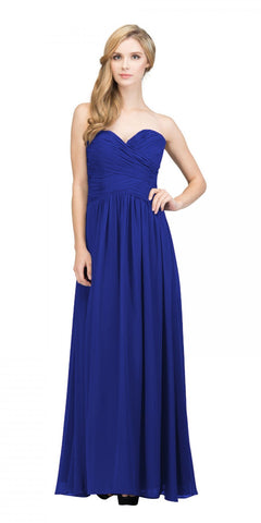 Starbox USA L6126 Sweetheart Ruched Chiffon Royal Blue Bridesmaid Dress