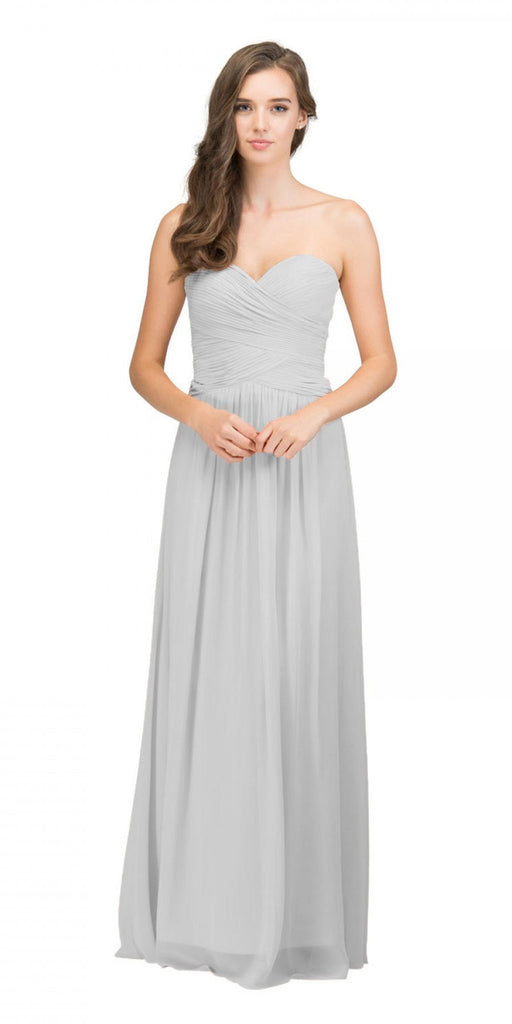 Starbox USA L6126 Sweetheart Ruched Chiffon Silver Bridesmaid Dress