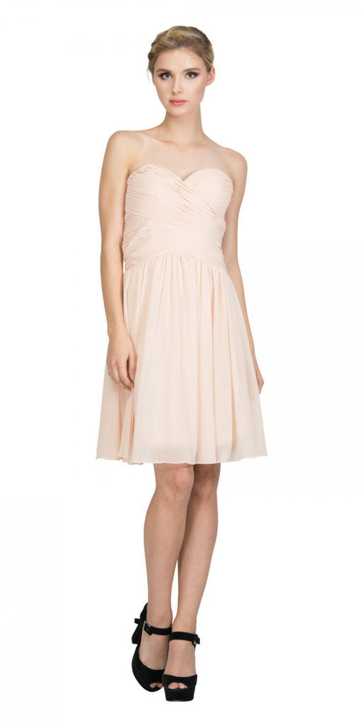 Starbox USA S6127 Sweetheart Neck Ruched Bodice Chiffon Champagne Knee Length Bridesmaids Dress
