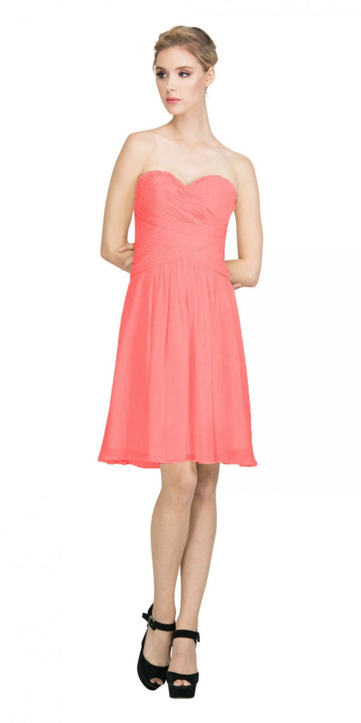 Starbox USA S6127 Sweetheart Neck Ruched Bodice Chiffon Coral Knee Length Bridesmaids Dress